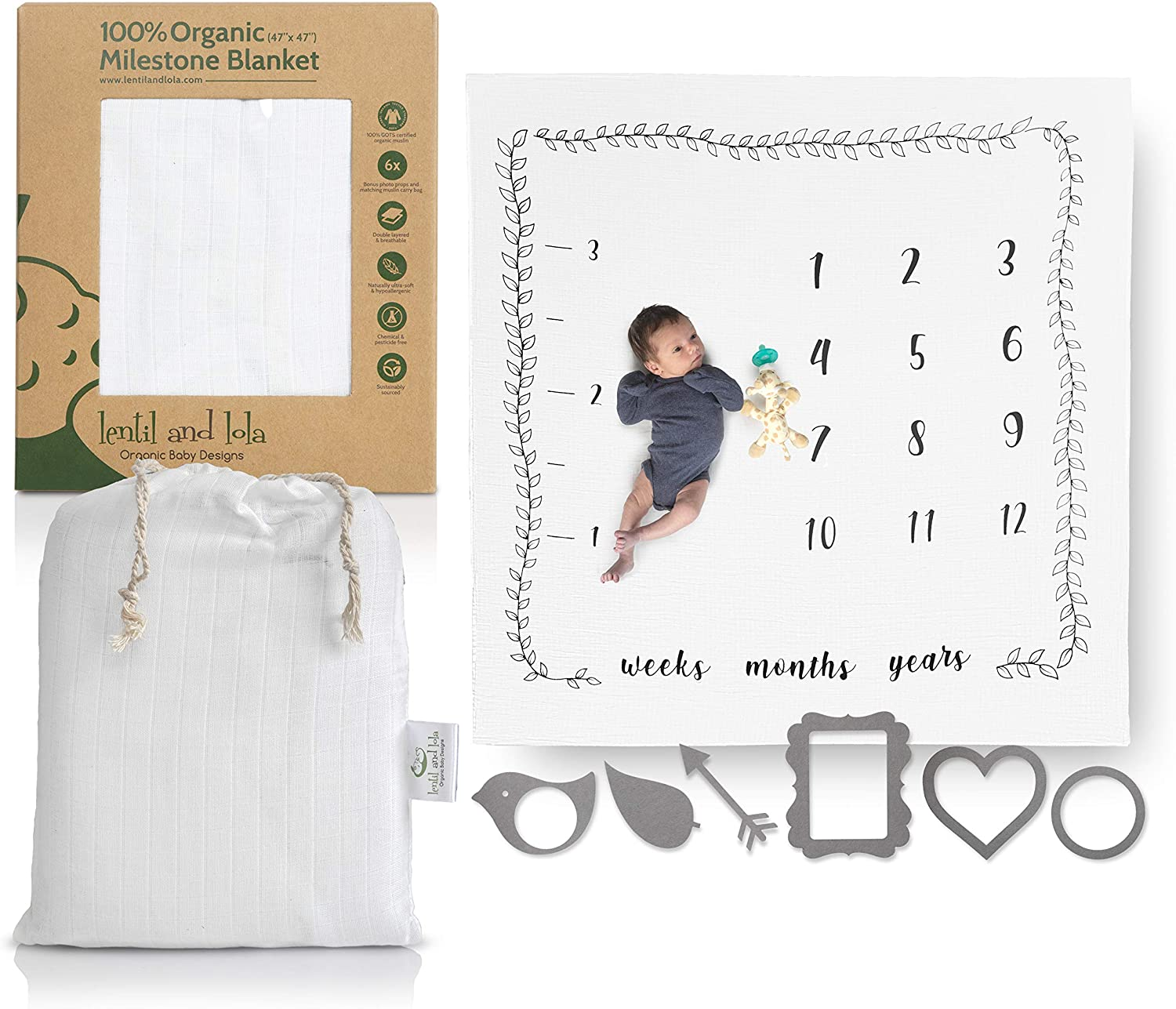 Lentil and Lola Monthly Milestone Blanket |100% Organic Muslin | 6 Photo Props + Carry Bag | Monthly Blanket for Baby Pictures | Milestone Blanket for Infants