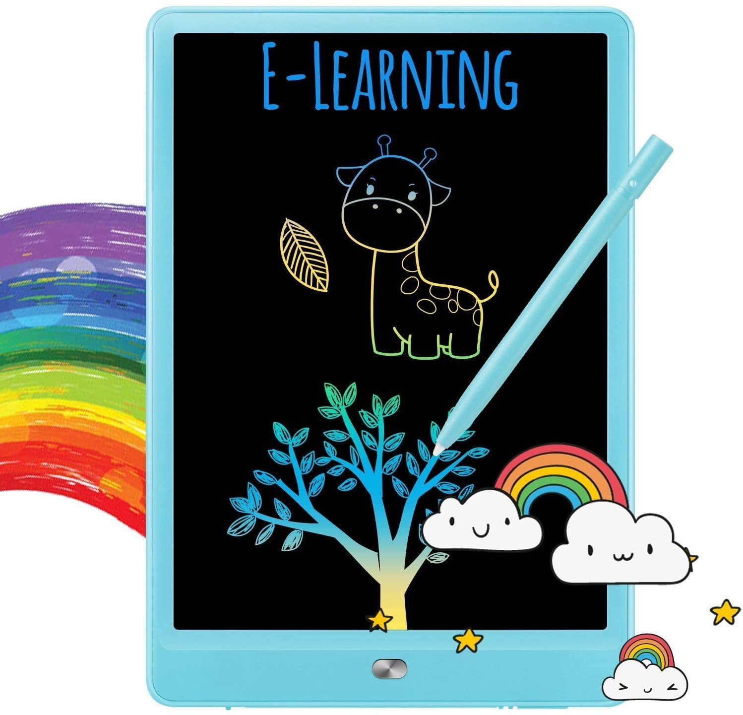 TEKFUN Boys Gifts, 8.5inch LCD Writing Tablet Doodle Board with Rainbow Color, Educational Toys for 3 4 5 6 Year Old Boys, Reusable Drawing Tablet Drawing Board(Blue)