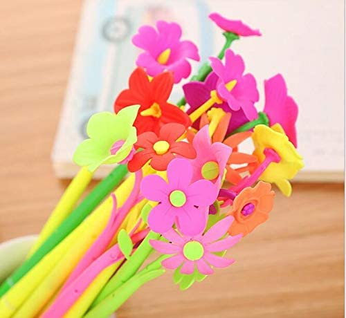 12 packs of Easyinsmile gel ink Black Pens for Student and Office with Different Shape (Colorful Flower Shape)