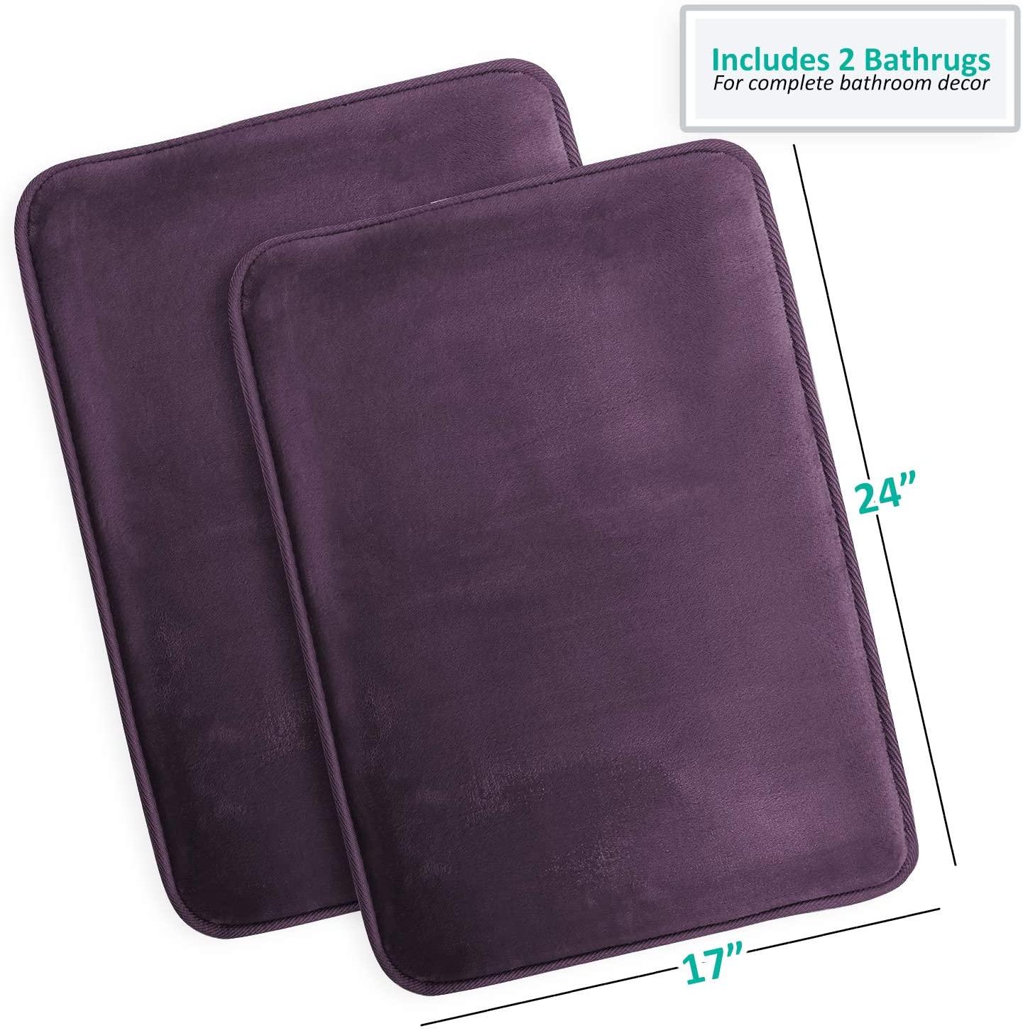 Memory Foam Bathrug 2 Pack Set – Eggplant - Bath Mat and Shower Rug Small 17