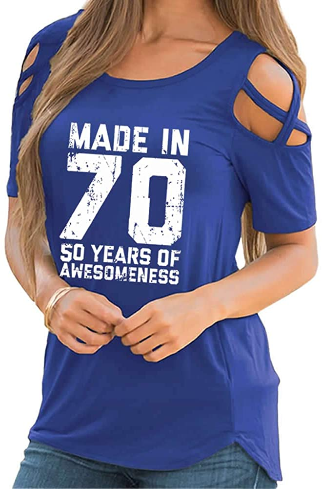Rfecccy Women's 50th Birthday Gifts-Made in 70 Print Cold Shoulder Short Sleeve T-Shirts Crew Neck Casual Tops