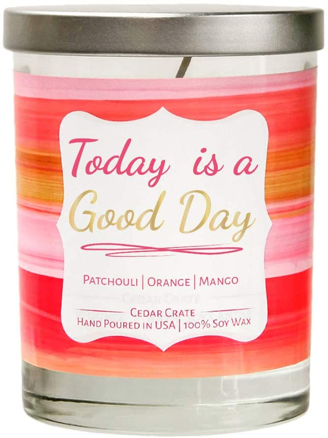 Today is a Good Day   Patchouli, Orange, Mango   Luxury Scented Soy Candles  10 Oz. Clear Jar Candle   Made in The USA   Decorative Aromatherapy   Unique Gifts for Women or Men   Mom, Wife, Friend