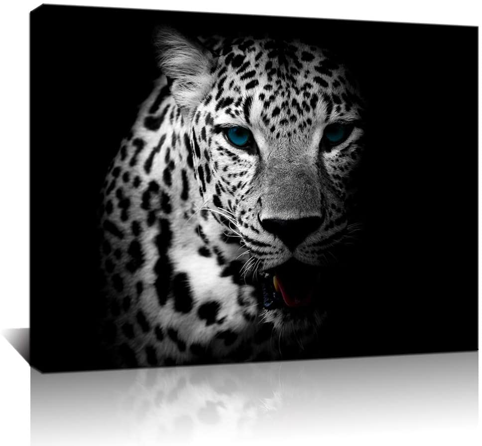 Biuteawal - Black and White Wall Art Painting Blue Eyed Tiger Prints on Canvas Animal Pictures Poster Giclee Artwork Framed for Office Home Decorations Stretched and Framed Ready to Hang