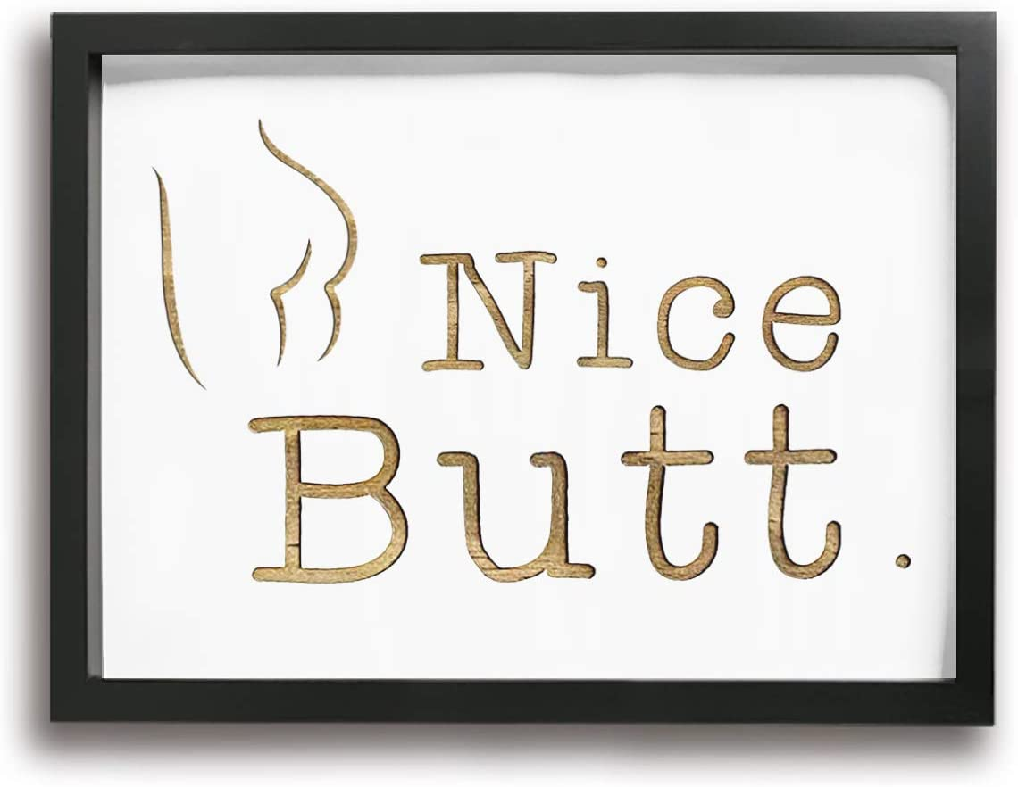BLOOM SOMEWHERE Nice Butt Bathroom Decor Funny Farmhouse Style Wall Art Rustic Wood Sign Canvas Print Framed Artwork for Toilet Bathroom 12X16 inches Rose Gold
