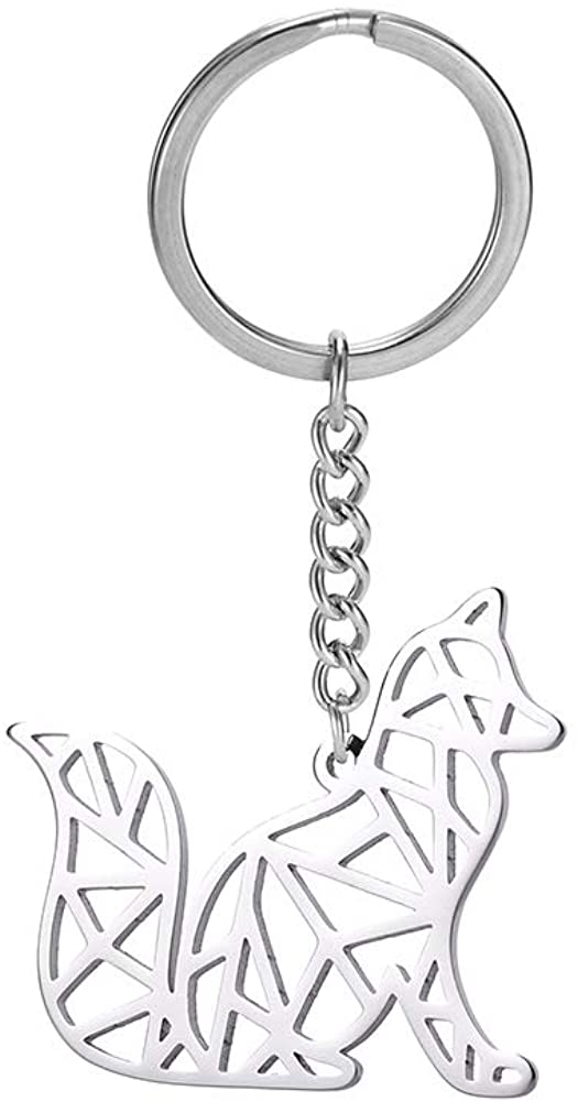 cooltime Stainless Steel Keyring Geometric Hollow Out Animal Keychain for Unisex Animal Lover