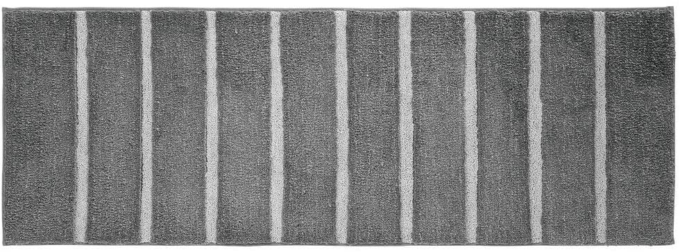mDesign Soft Microfiber Polyester Non-Slip Extra-Long Stripe Spa Mat/Runner, Plush Water Absorbent Accent Rug for Bathroom Vanity, Bathtub/Shower, Machine Washable - 60