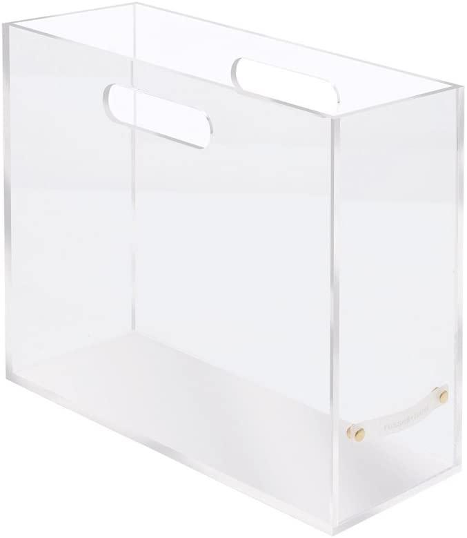"russell+hazel Acrylic File Box Slim, Clear, 4.5"" x 12.25"" x 10"""