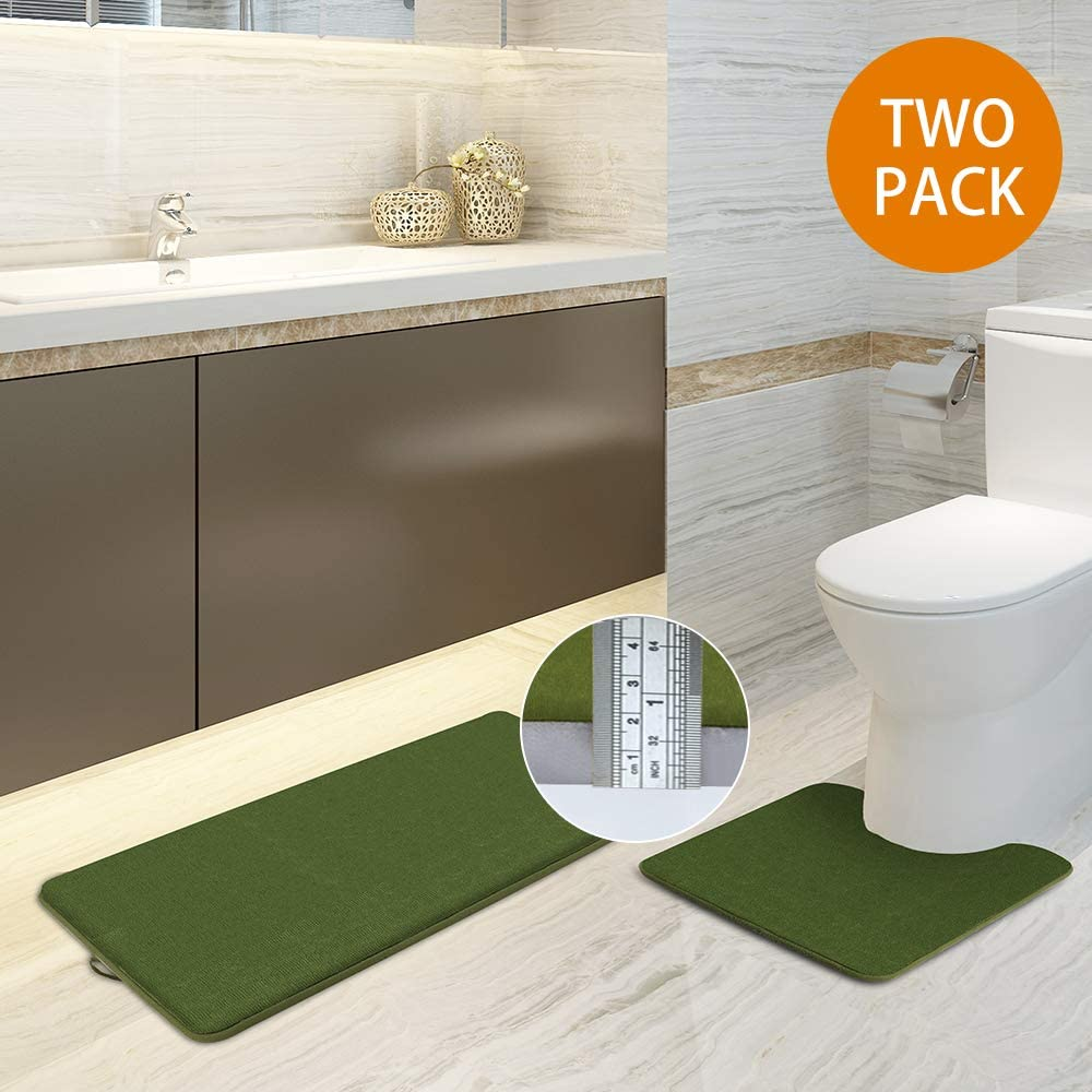MORU&RUMO Memory Foam Toilet Extra Thickened Rugs and U-Shaped Cushion Soft and Comfortable Highly Absorbent Non-Slip with Drying Hook Suitable for Bathroom Sink Set-20