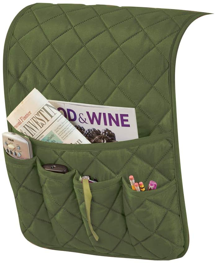 Collections Etc Quilted Organizer and Space Saving Armrest Cover with 1 Large and 4 Small Pockets, Olive