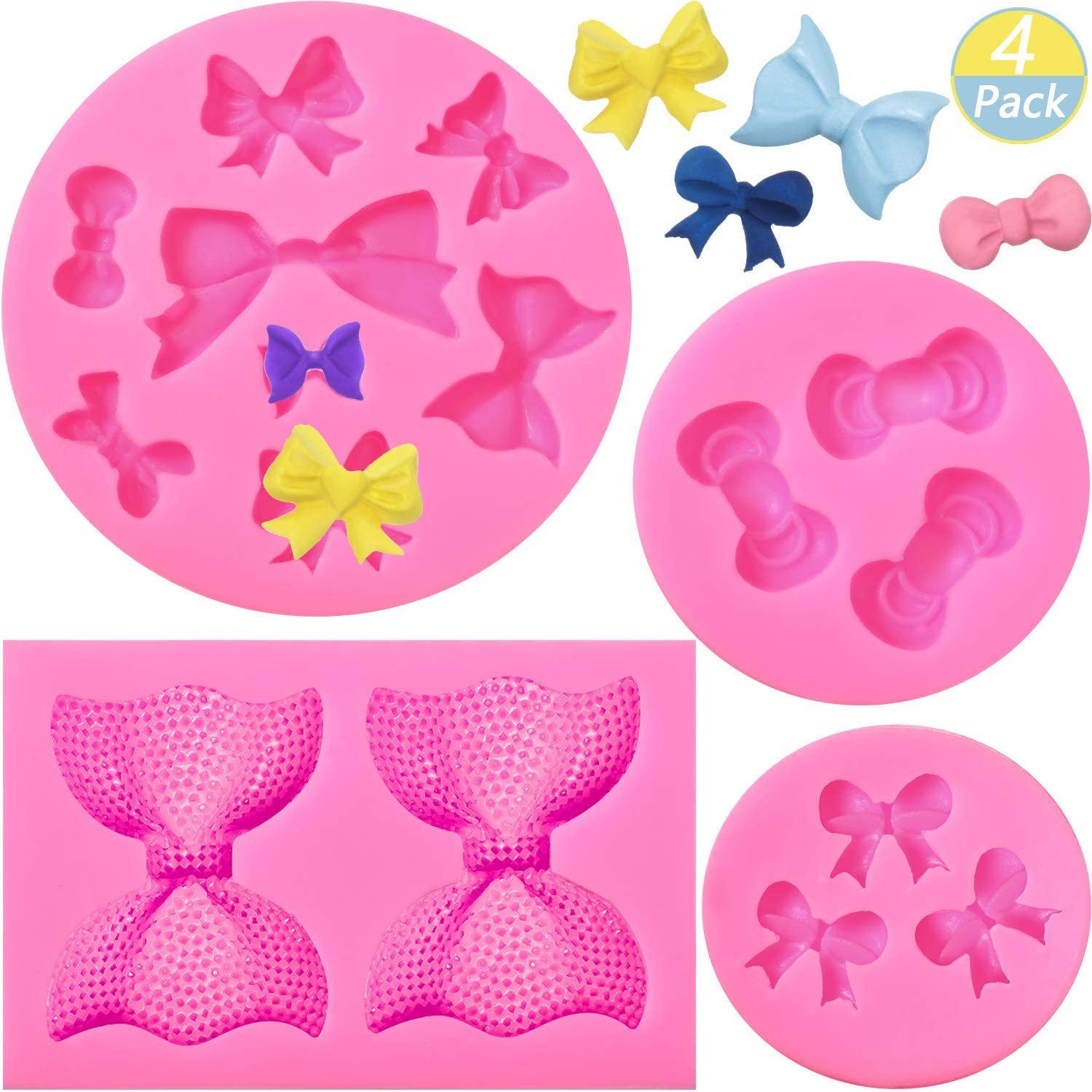 4 Pieces Bow Silicone Fondant Molds Bowknot Fondant Chocolate Candy Molds Bow Silicone Mold DIY Cake Molds for Birthday Party Cake Cupcake Supplies, 4 Styles