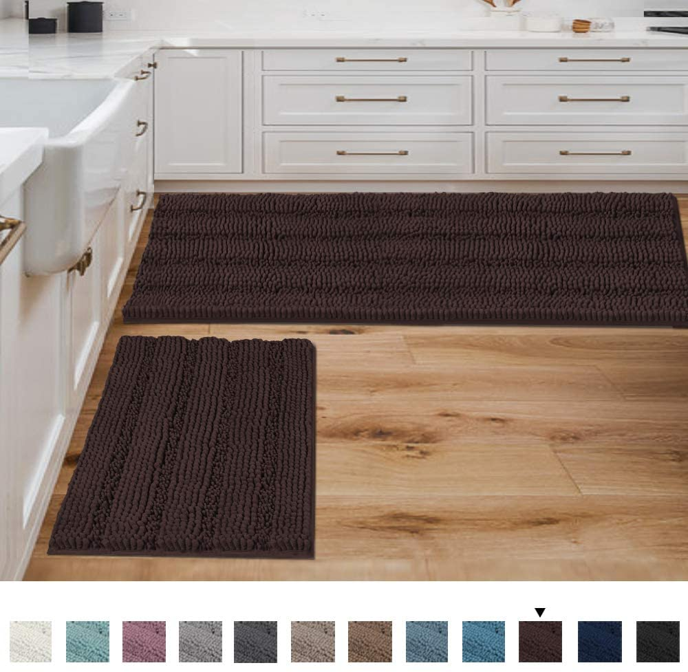Bathroom Rugs and Mats Sets Super Absorbent Chenille Bath Mats Non Skid Machine Wash Dry Rugs for Bathroom Floor Set of 2(Chocolate, 47 x 17 Plus 17 x 24 - Inches)