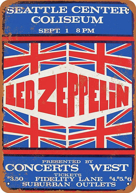 Fsdva 8 x 12 Metal Sign - Led Zeppelin in Seattle - Retro Tin Art Decor Wall Decor