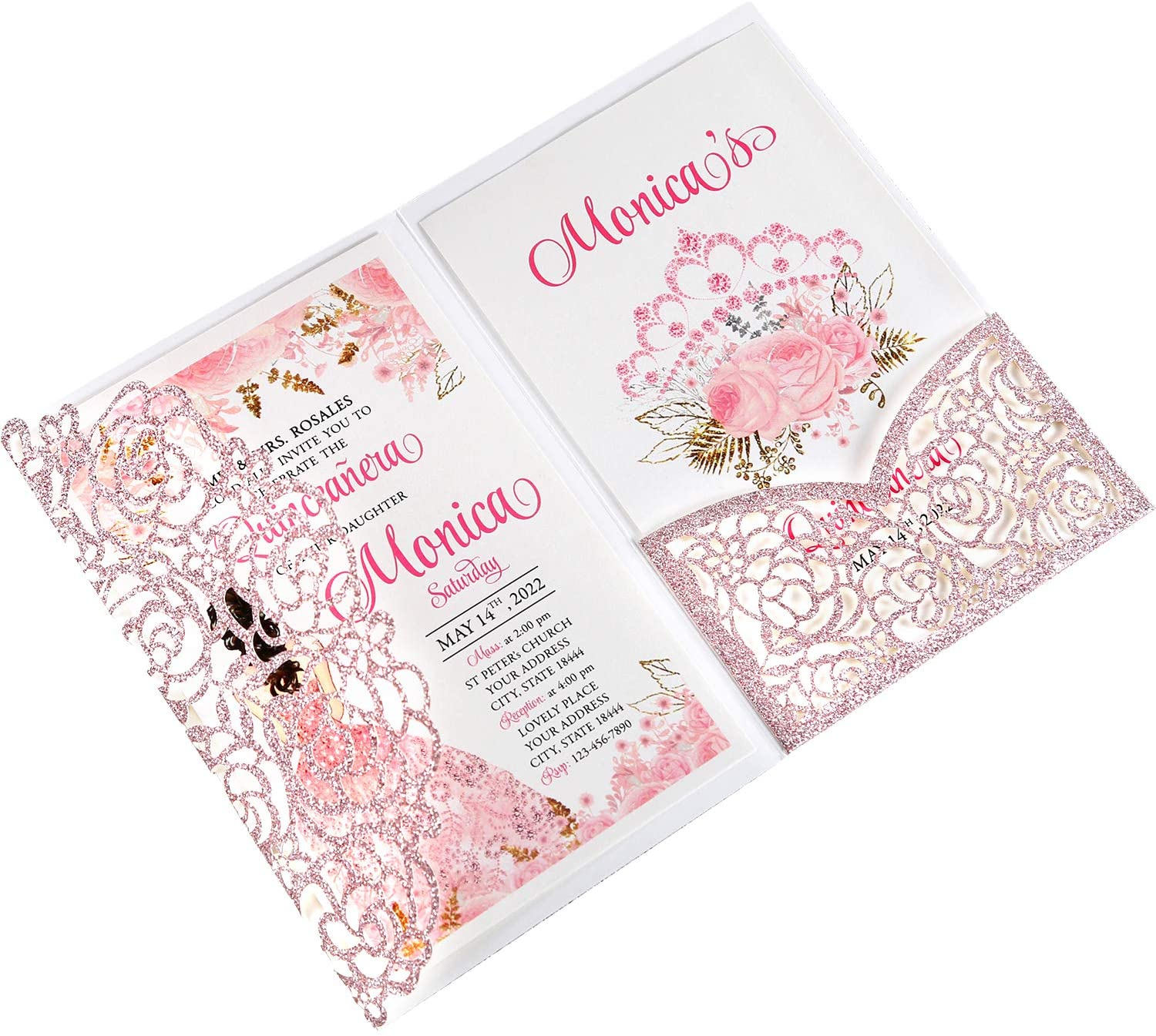 DreamBuilt 4.7 x7 inch 50PCS Blank Rose Gold Glitter Quinceanera Invitations Kit Laser Cut Hollow Rose Pocket Quinceanera Invitation Cards with Envelopes for Bridal Shower Quincenera Birthday Invite