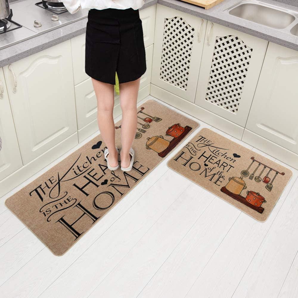 Carvapet 2 Pieces Cushioned Non-Slip Rubber Back Kitchen Runner Set Floor Mats Bathroom Rug Doormat Runner, 18