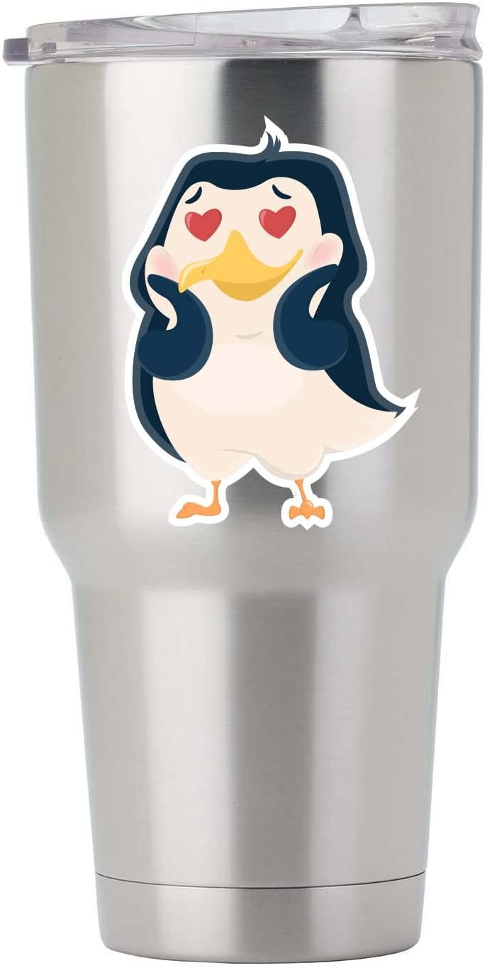 Penguin in Love Full Color Vinyl Decal for Tumbler