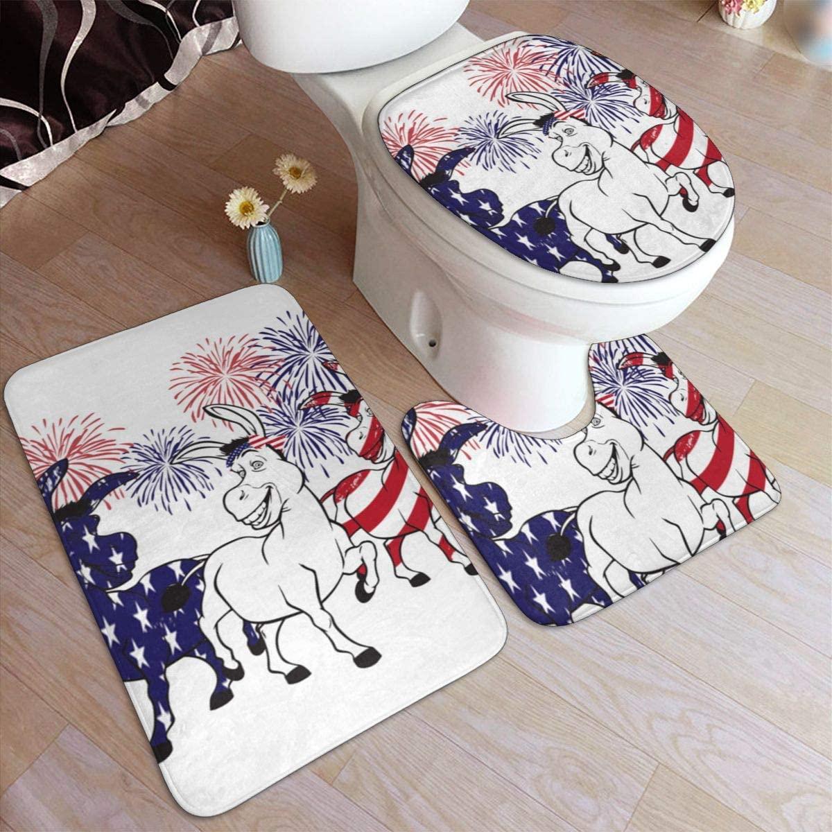 American Celebration 3 Pieces Bathroom Rug Set,Bath Shower Mats Doormat, U-Shaped Toilet Rug, Toilet Lid Cover
