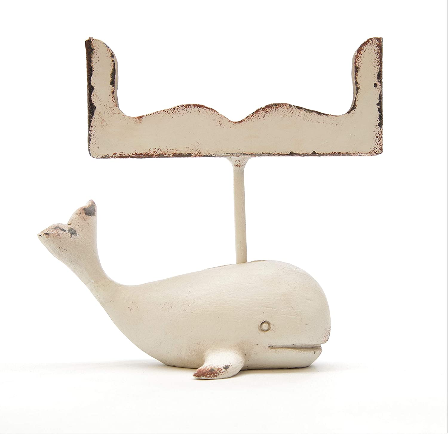 Cute Whale Business Card Holder - Distressed White - Silvercloud Trading Co.
