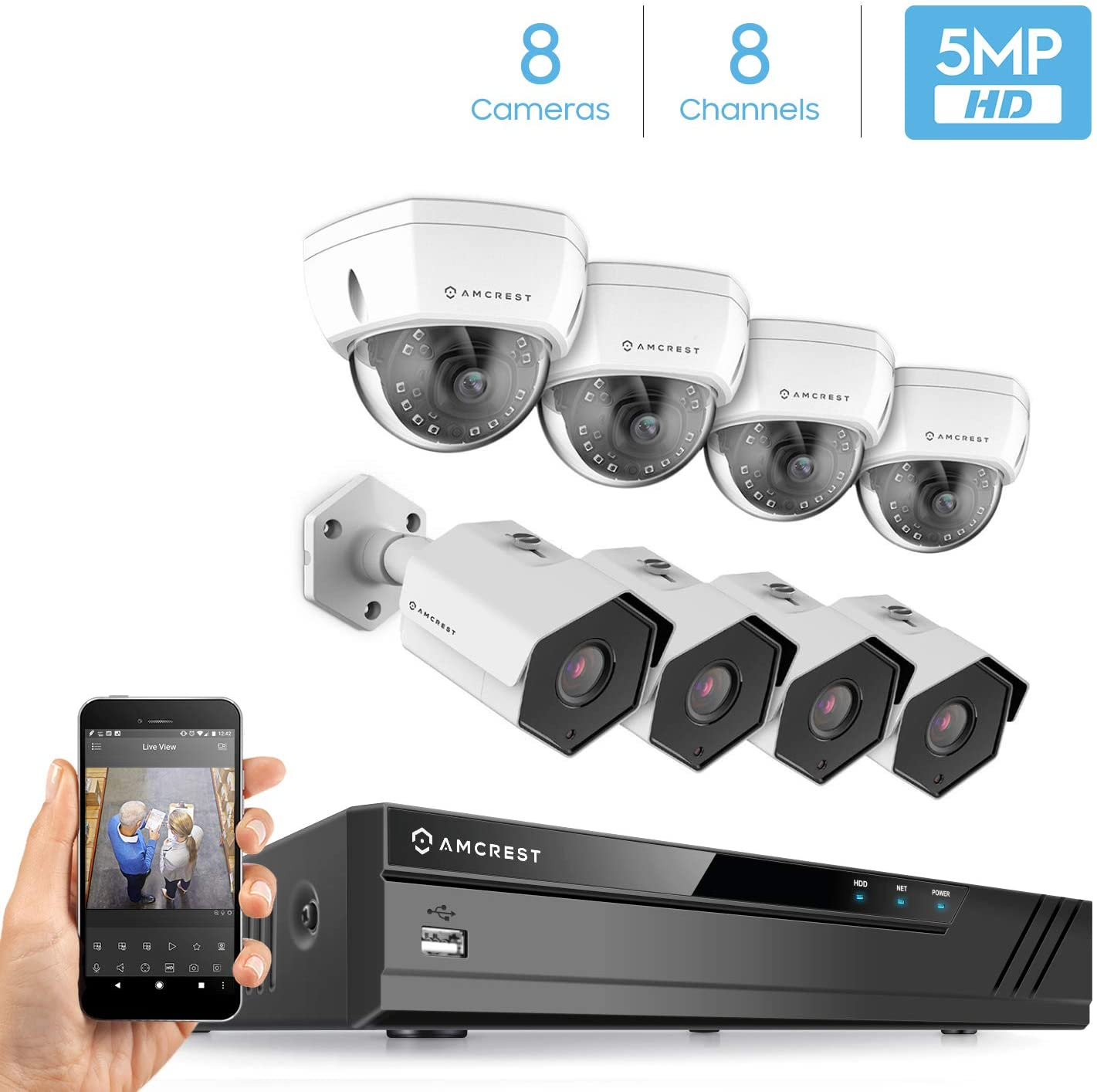 Amcrest 5MP Security Camera System, 4K 8CH PoE NVR, (8) x 5-Megapixel IP67 Weatherproof Metal Bullet & Dome POE IP Cameras, Hard Drive Not Included, NV4108E-IP5M-1173EW4-IP5M-1176EW4 (White)