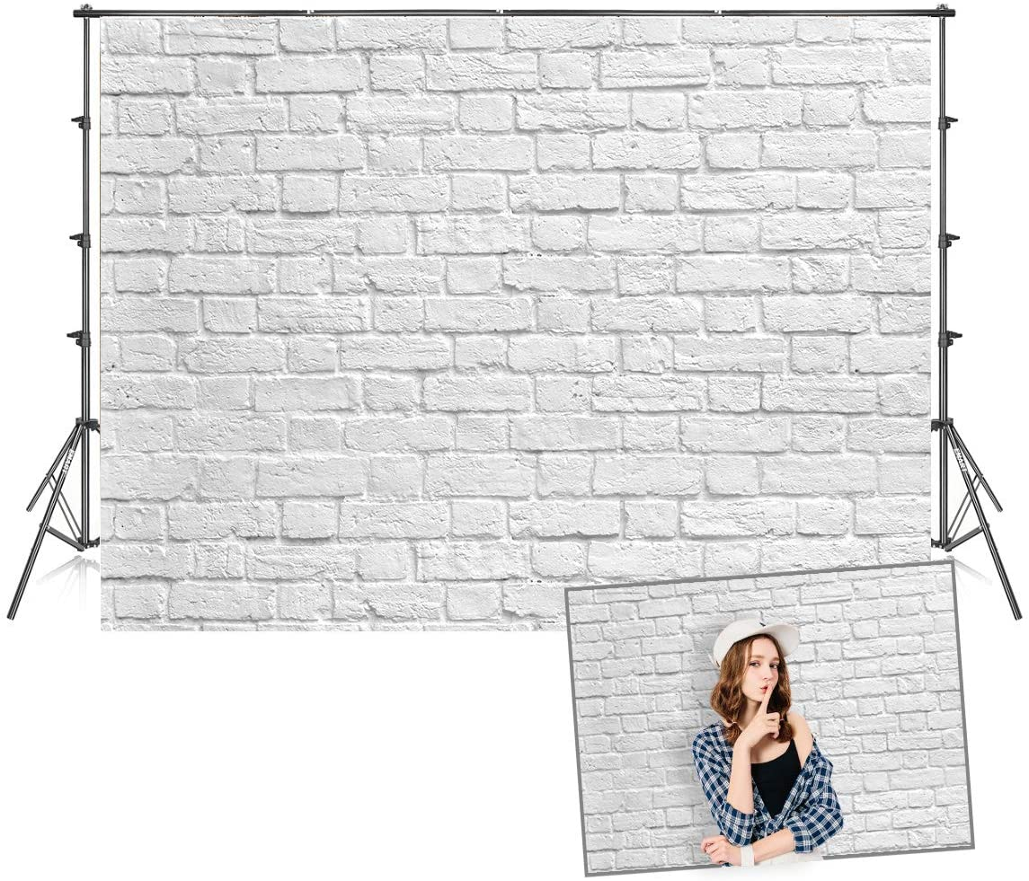 7x5ft Seamless White Brick Wall Photo Backdrop for Photoshoot Photo Background