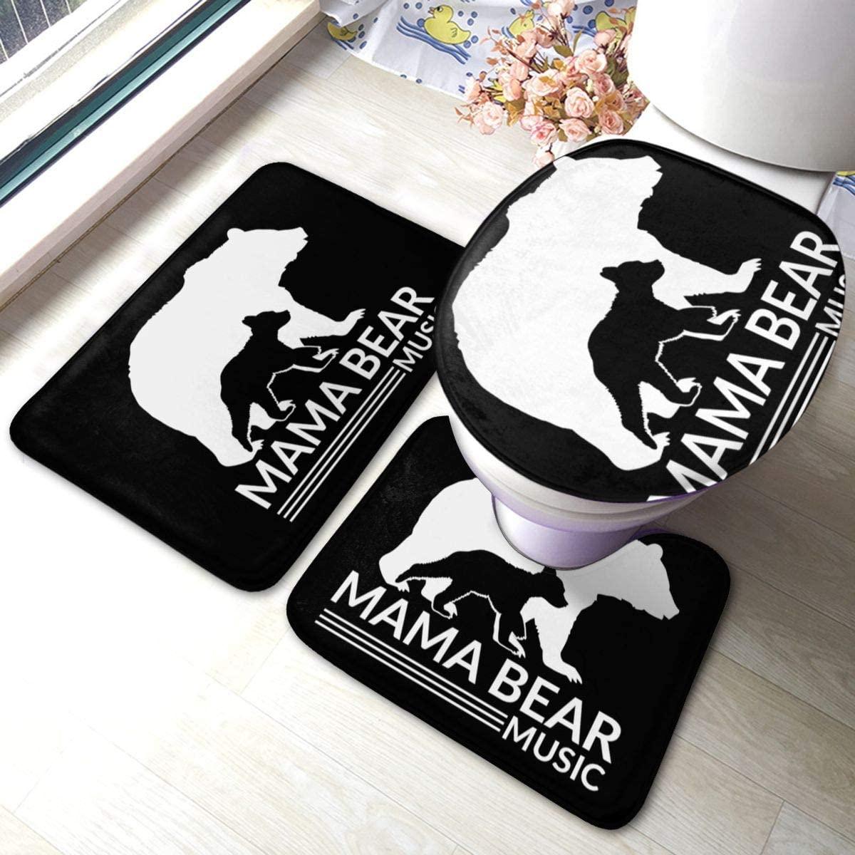Aopit Labs Bathroom Antiskid Pad Mama Bear Love Bathroom Rugs Set 3 Piece Carpets Mats for Tub Water Absorption Contour Toilet Lid Cover Doormat Non-Slip Machine Washable