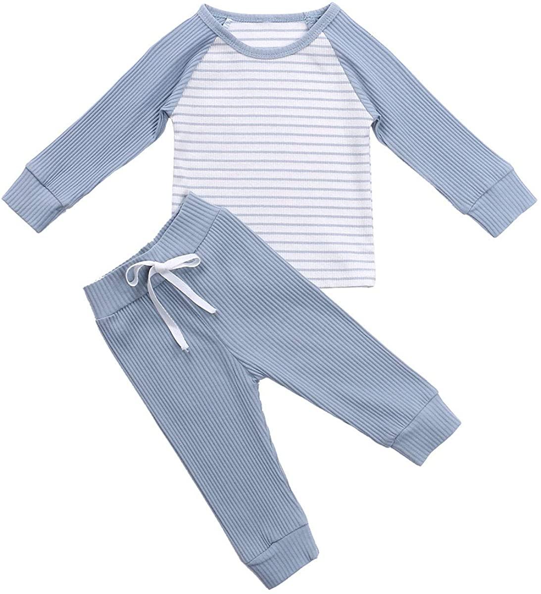 2Pcs/Set Newborn Baby Boys Long Sleeve Top T-Shirt Stripe Long Pants 2Pcs Cotton Pajamas Casual Outfits