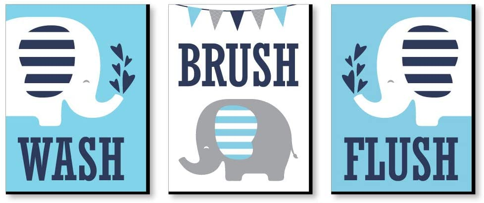 Big Dot of Happiness Blue Elephant - Kids Bathroom Rules Wall Art - 7.5 x 10 inches - Set of 3 Signs - Wash, Brush, Flush