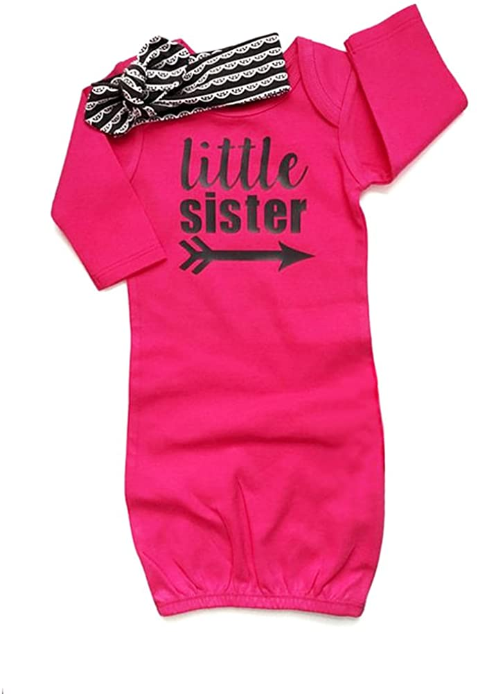HBER Baby Girls Gowns Clothes Little Sister Long Sleeve Stripe Nightowns Pajamas Sleepwear Bag Outfits Set with Headband