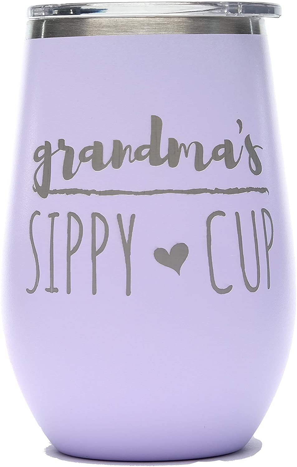 Grandma's Sippy Cup 12 oz. Lavender Powder Coating Stainless Steel Skinny Glass Wine Tumbler - Double Wall Vaccum Insulated
