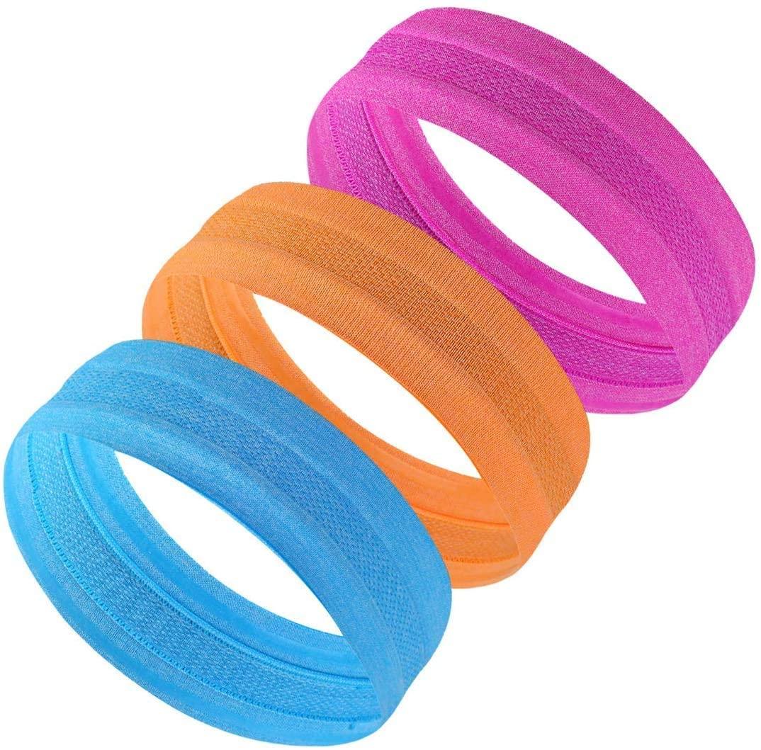 FINGOOO 3 Pack Women Sports Headbands Fitness Stretch Head Bands for Girls