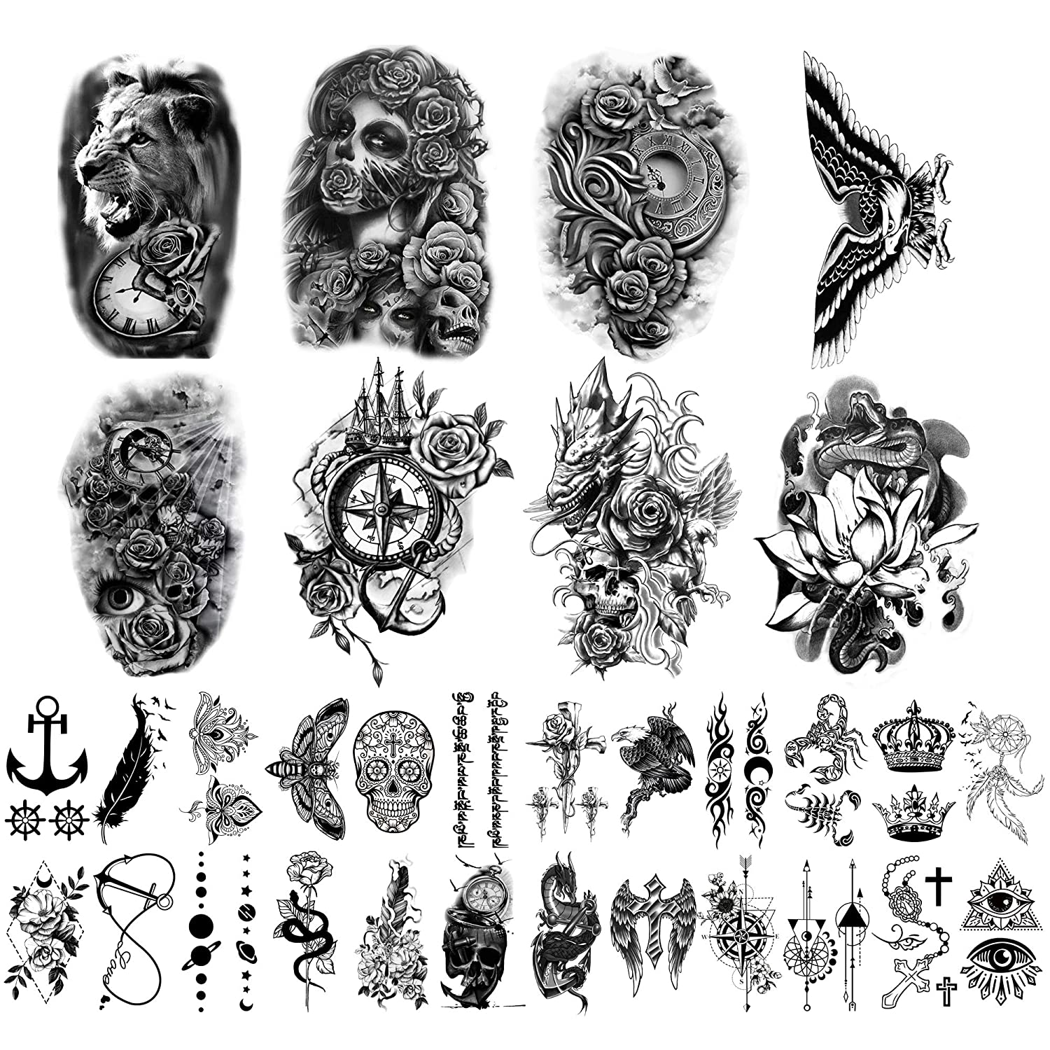 Yazhiji 32 Sheets Temporary Tattoos Stickers, 8 Sheets Fake Body Arm Chest Shoulder Tattoos for Men Women with 24 Sheets Tiny Black Temporary Tattoos