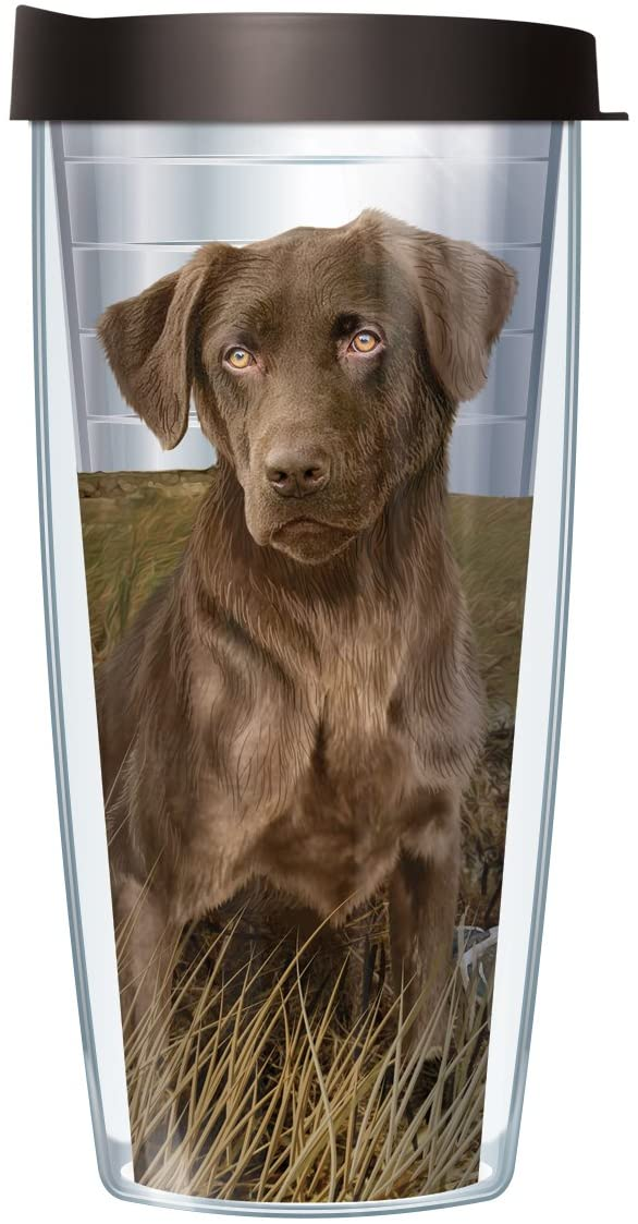 Signature Tumblers Chocolate Lab in Field Wrap on Clear 22 Ounce Double-Walled Travel Tumbler Mug with Black Easy Sip Lid