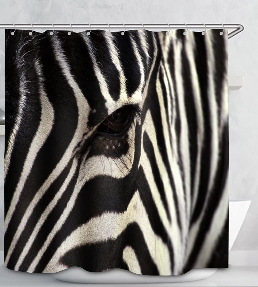 PUPBEAMO Digital Printing Waterproof Polyester Shower Curtain - Zebra Eye Strips - 72x72 Inches