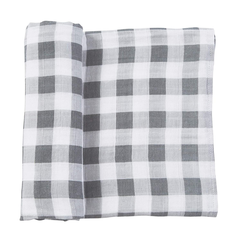 Mud Pie Muslin Gingham Swaddle Blanket, Grey, White (12140018), 47