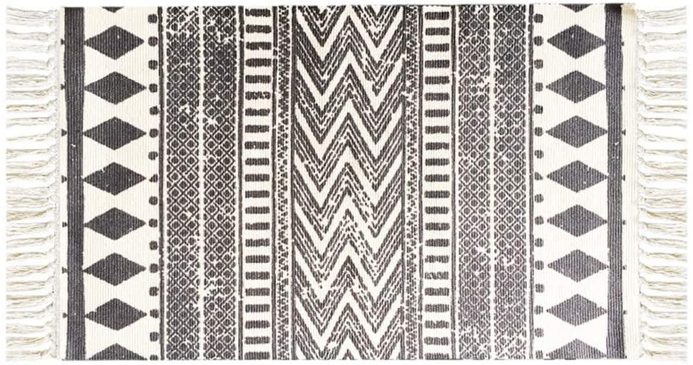 Boho Style Cotton Tassel Rug 2X3 ft Bohemian Bathroom Rug, Kitchen Mat, Hand Woven Cotton Area Rug Runner for Living Room, Kitchen Floor, Laundry Room