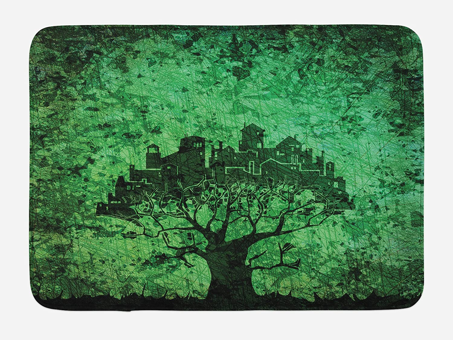 Ambesonne Abstract Bath Mat, City Composition Buildings Houses Town on Tree Branches Creative Monochromic Artwork, Plush Bathroom Decor Mat with Non Slip Backing, 29.5