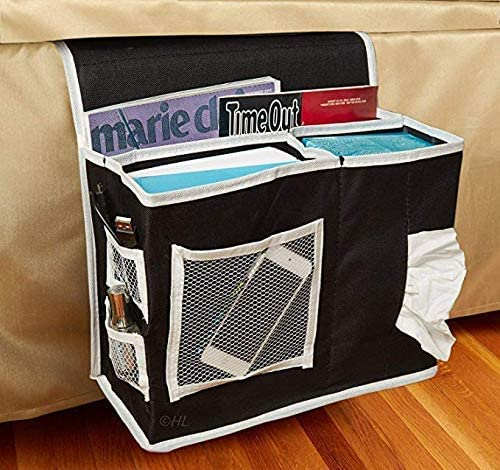 GLIN Bedside Caddy, 12 Various Pockets Perfect College Dorm Room Bunk Bed Bedside Organizer,Durable Stable Material Bed Caddy,Large Size Holds Your Laptop,Books,Tablet,Phone More (black2)