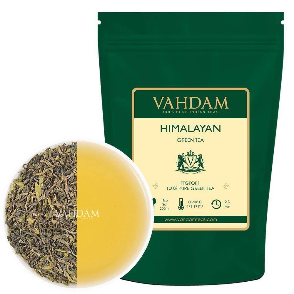 VAHDAM, Himalayan Green Tea Leaves (50+ Cups) I 100% NATURAL Green Tea I POWERFUL ANTIOXIDANTS I Serve as ICED TEA or Brew Hot I Kombucha Tea I Pure Green Tea Loose-Leaf, 3.53 oz
