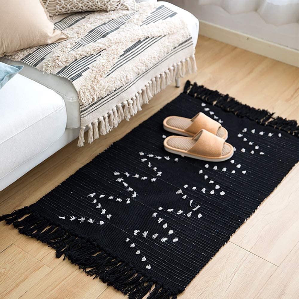 Breezsisan Cotton Rugs Runner Hand Woven Area Tassels Bath Rug Boho Rug White and Black 23.6