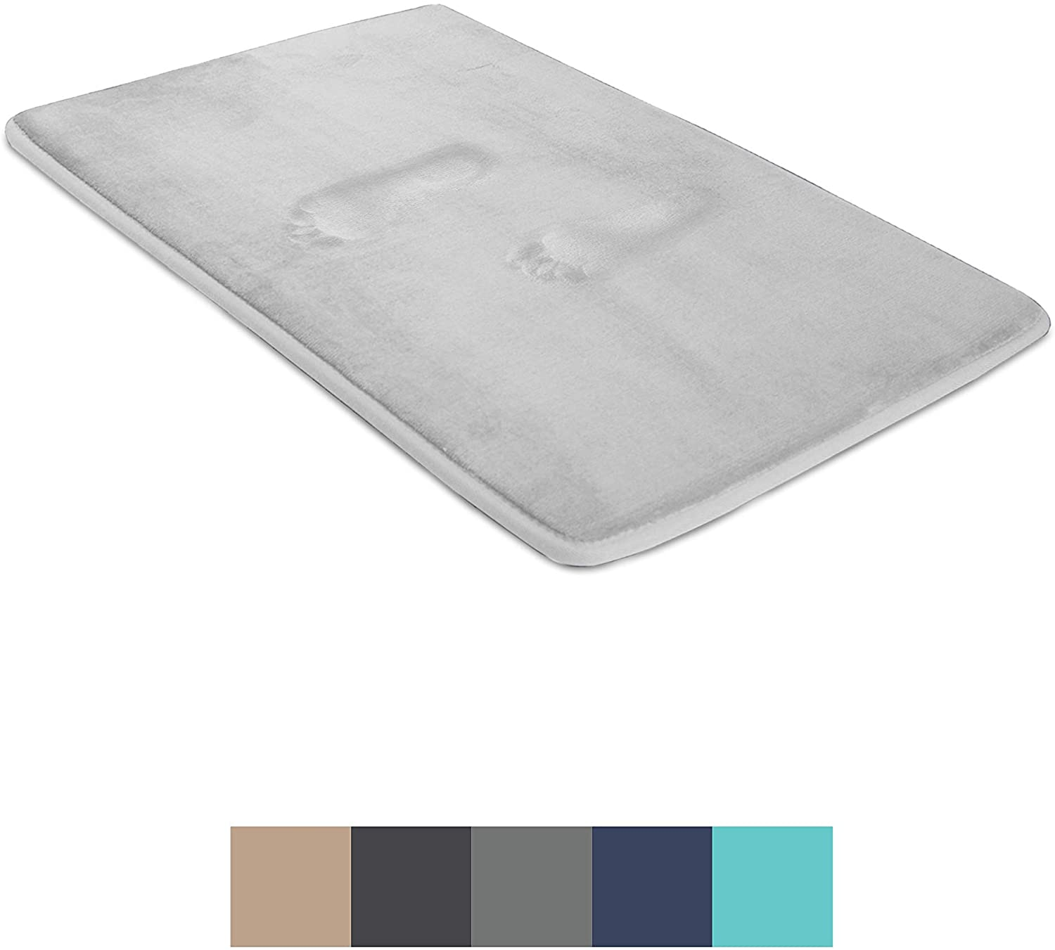 BIGFOOT Memory Foam Bath Mat 30 x 20 for Tub and Shower, Water Absorbent Non-Slip Bathroom Rug with Soft Velvet Top Layer, Thick Cushioning Foam with PVC Dot Bottom Layer Keeps Floors Dry, Gray