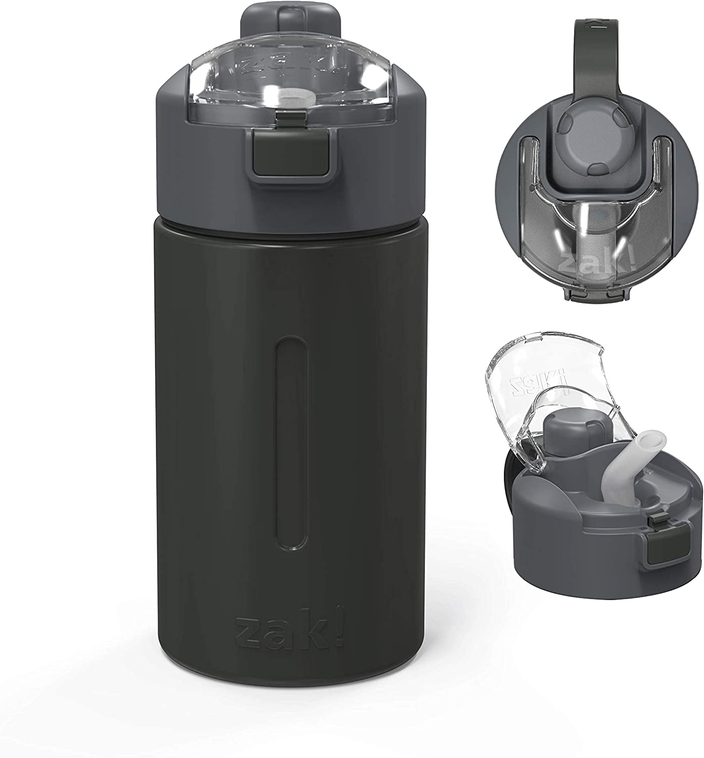 Zak Designs Genesis with 2-In-1 Lid and Leak-Proof Design Double-Wall Vacuum-Insulated Stainless Steel Water Bottle, Includes Portable Carry Strap (12oz, Charcoal, 18/8 SS, BPA-Free)
