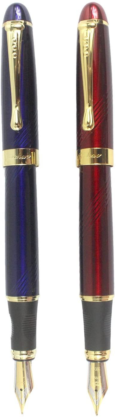 Sipliv 2PCS Fountain Pen Set, Jinhao 450, Medium Point(0.5MM), Gold Clips, Blue & Red Wine