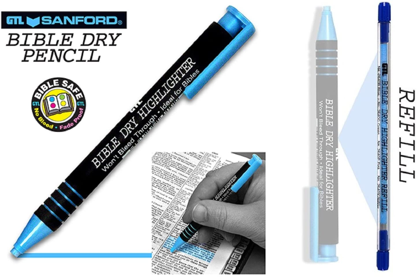 Dry Bible/Book Highlighter Pen With 2 Pack Bible/Book Dry Highlighter Refill (Blue)
