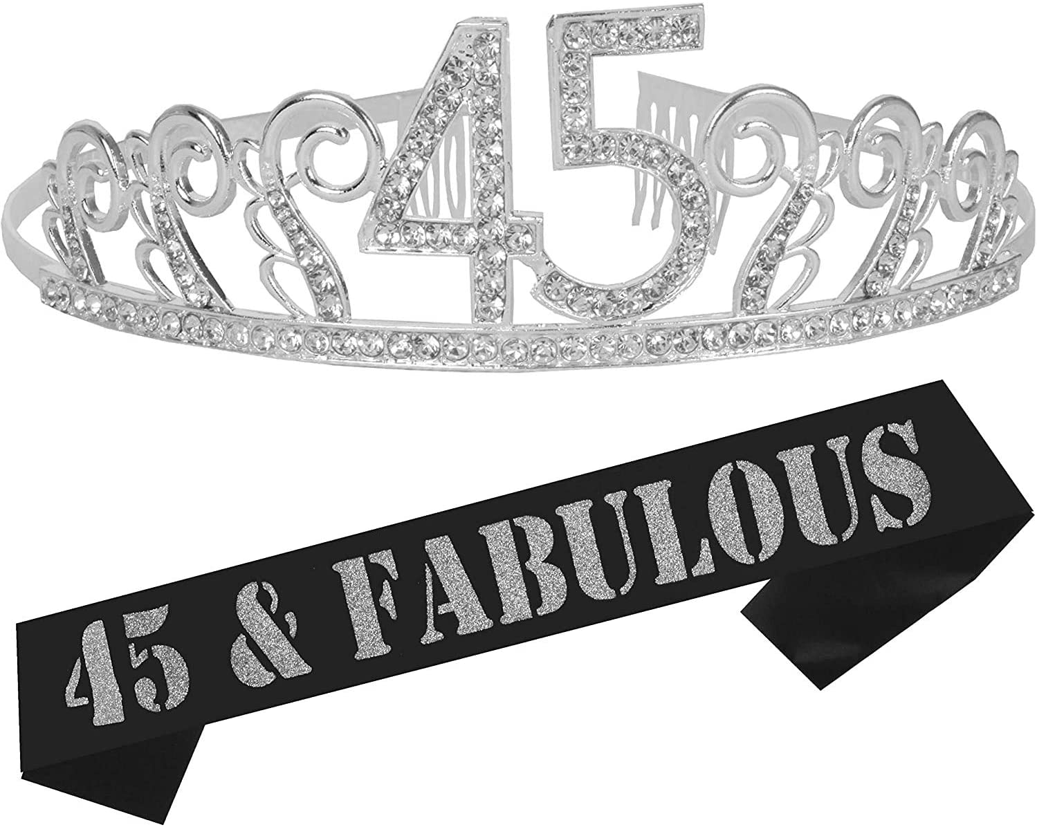45th Birthday Gifts for Women, 45th Birthday Tiara and Sash, Happy 45th Birthday Party Supplies, 45 & Fabulous Sash and Tiara Birthday Crown for 45th Birthday Party Supplies and Decorations (Silver)…