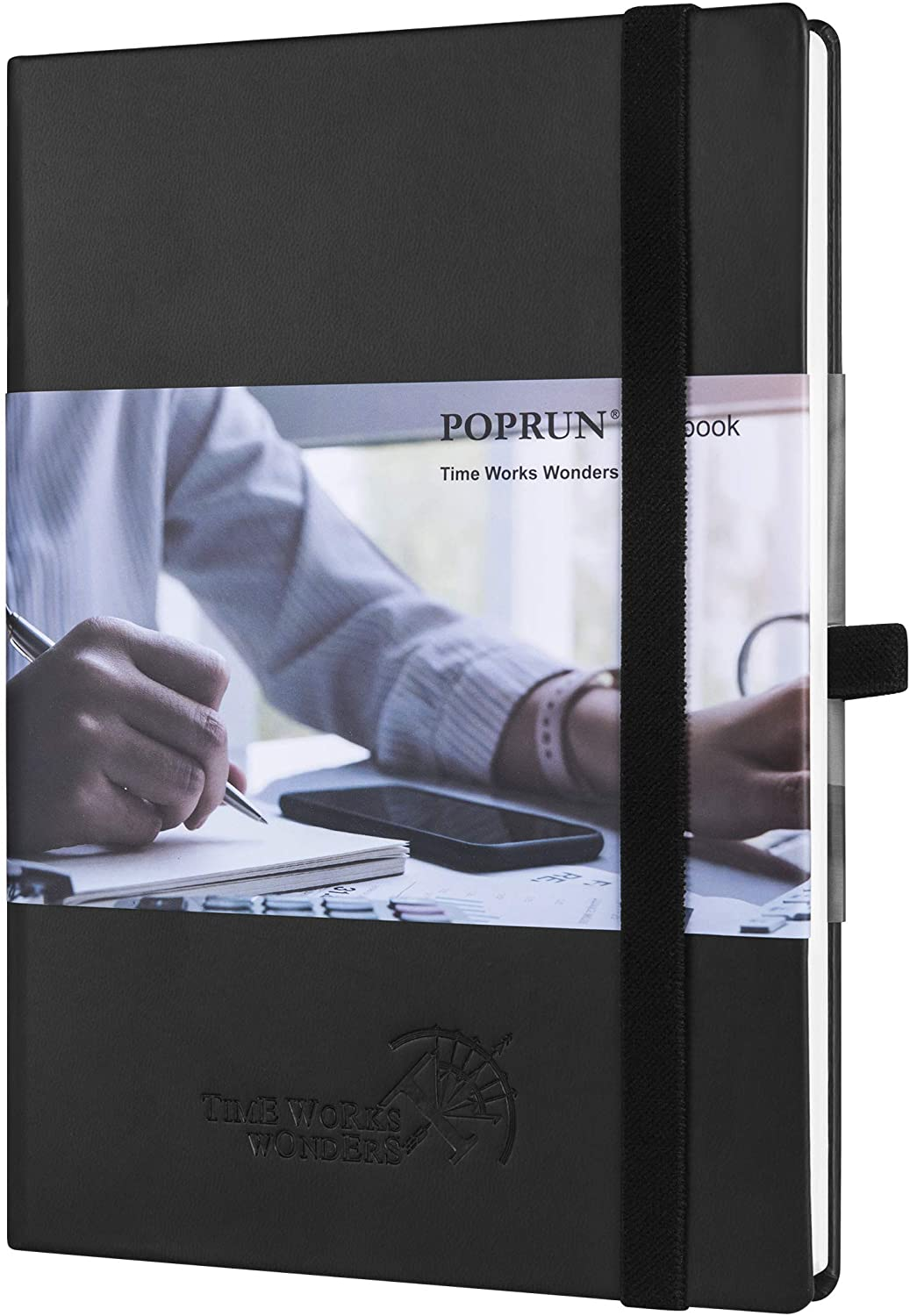 College Ruled Notebook Journal - Vegan Leather Hard Cover, Premium 120 gsm Ivory Paper, 155 Numbered Pages with Perforated Corner, 6 x 8.5 inches (Lined, Black)
