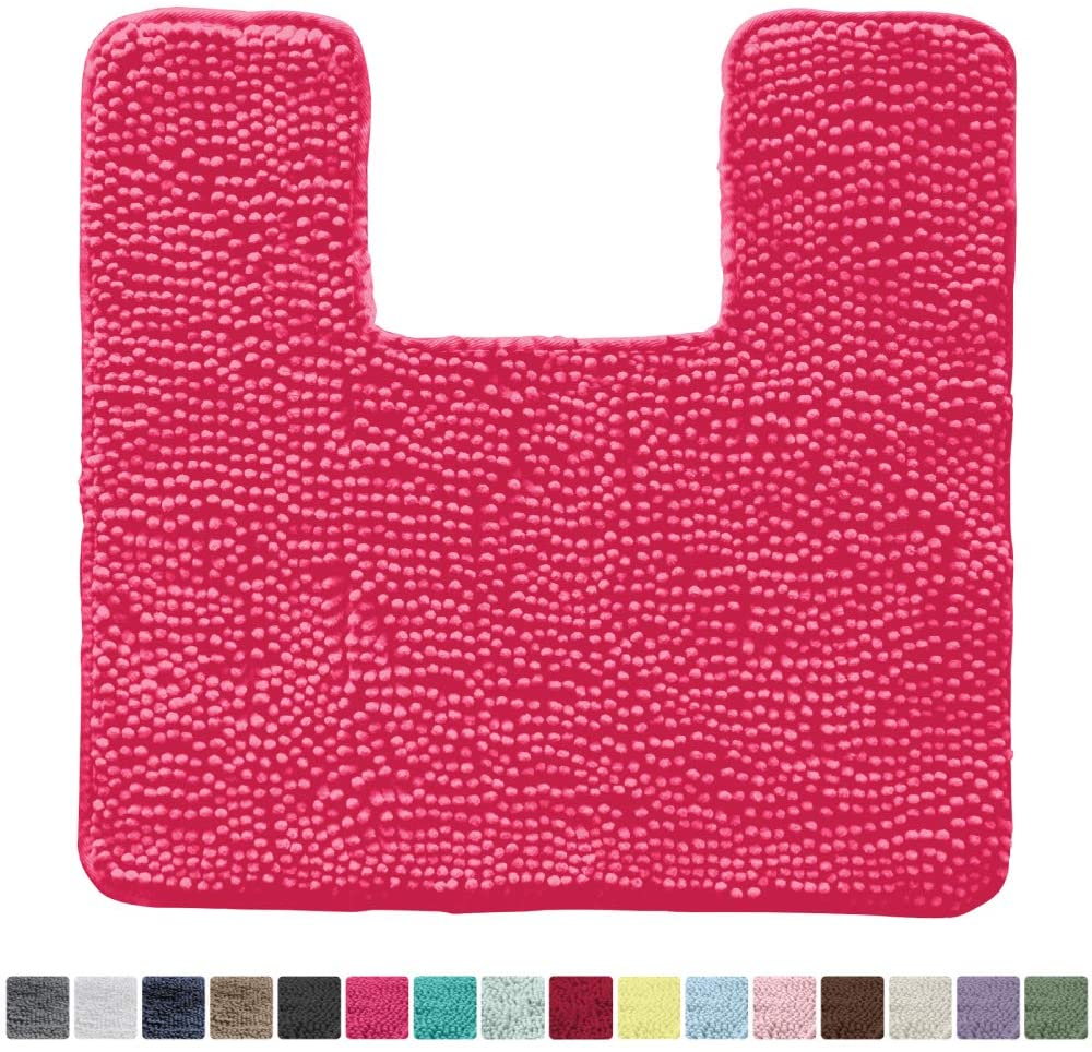Kangaroo Original Shaggy Chenille Toilet Bath Rug, Square U-Shape Contour Mat for Toilet, Washable, Mats Contoured for Toilets, Soft Plush Carpet Rugs for Kids Tub Shower and Bathroom, Hot Pink