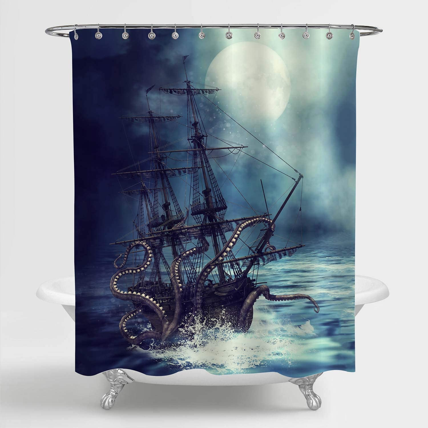 MitoVilla Nautical Sailboat Shower Curtain Set, Giant Sea Monster Octopus Kraken Attack Pirate Ship Art Print Bathroom Decor for Mens and Boy Ocean Animal Themed Gifts, 72