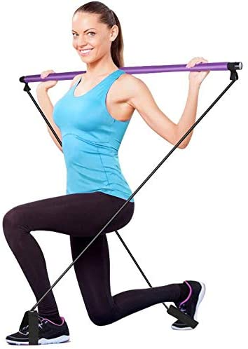 Cabany Basics Pilates Resistance Band Yoga Exercise Bar Kit Portable Pilates Stick Muscle Toning Bar Home Gym Pilates with Foot Loop for Total Body Workout Yoga, Fitness, Stretch, Sculpt, Tone