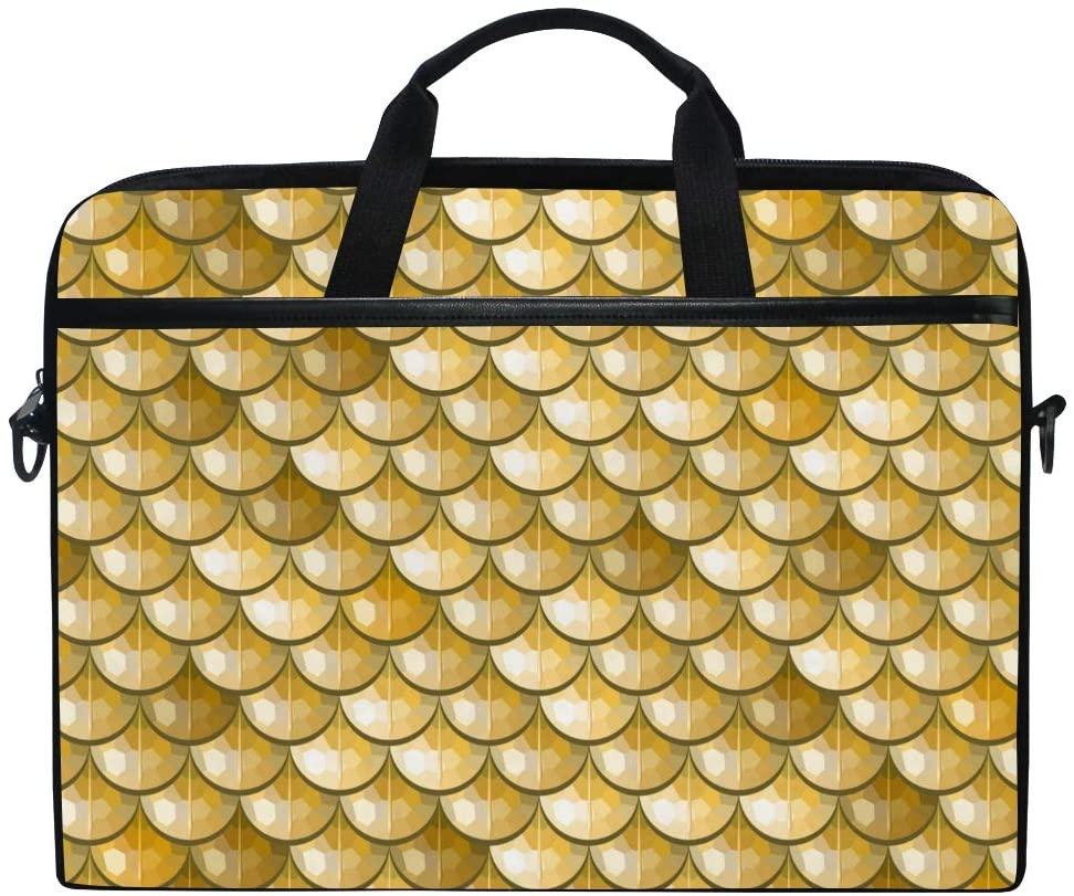 ALAZA Golden Sparkle Fish Scales 15 inch Laptop Case Shoulder Bag Crossbody Briefcase for Women Men Girls Boys with Shoulder Strap Handle, Back to School Gifts