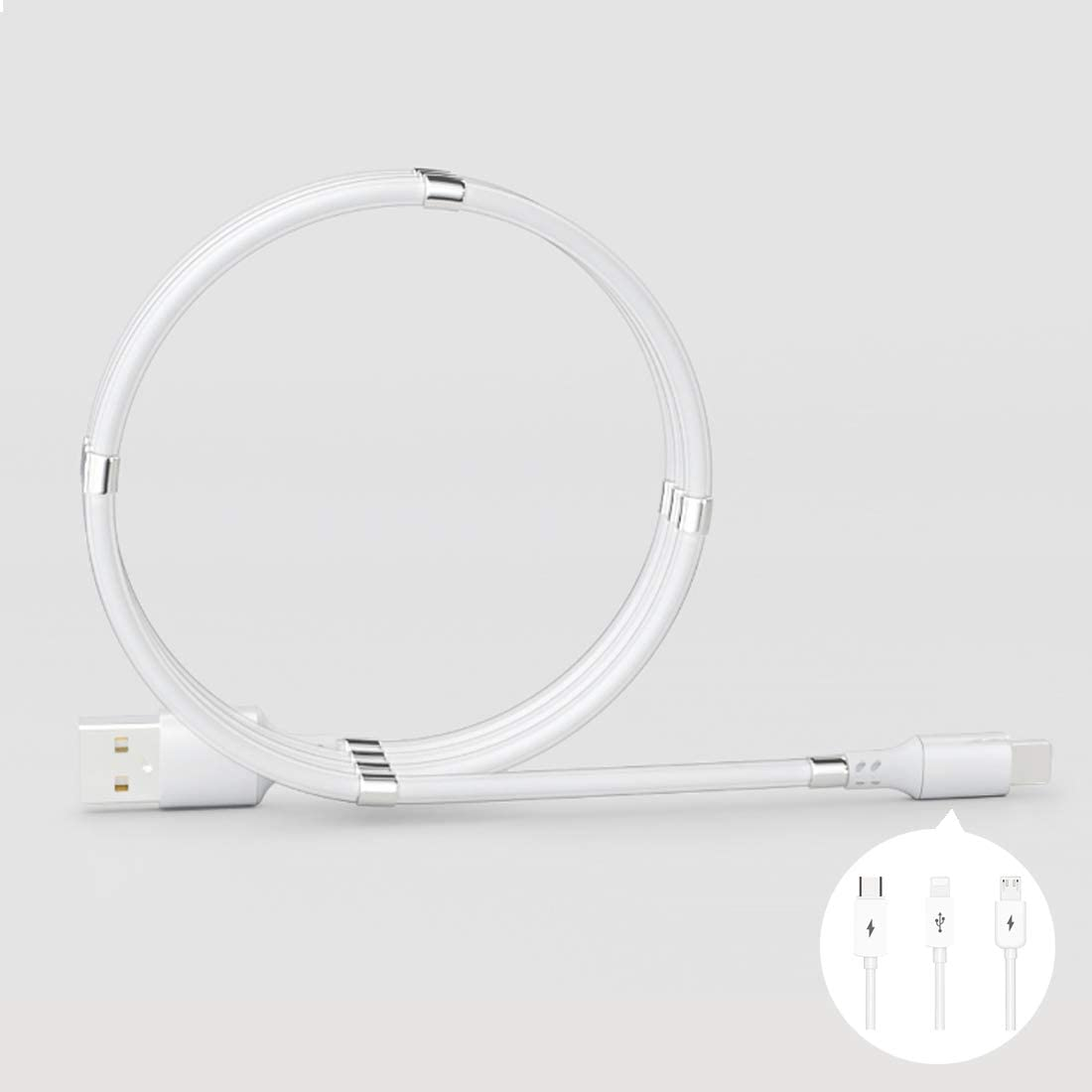 Magnetic Auto Storage USB 2.0 Charger Cable with Carrying to Phone Port, for Charging Phone/Android Phones, Headset and Tablets or Connecting PC for Transferring Files (3 Ft, White)