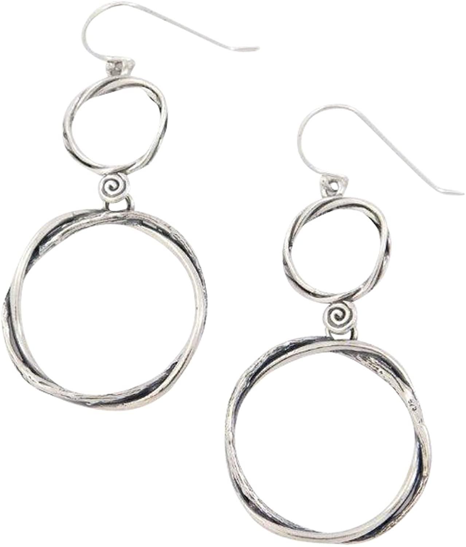 ELIMOR 925 Sterling Silver dangle Earrings with 2 hoops Design Woman Jewelry E11364